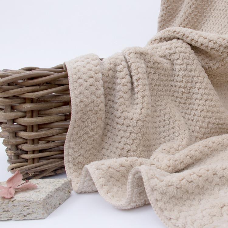 YODO XIUI Khăn tắm dành cho người lớn YODO XIUI Microfiber 75 * 140 Dứa Jacquard Coral Lông cừu thấm