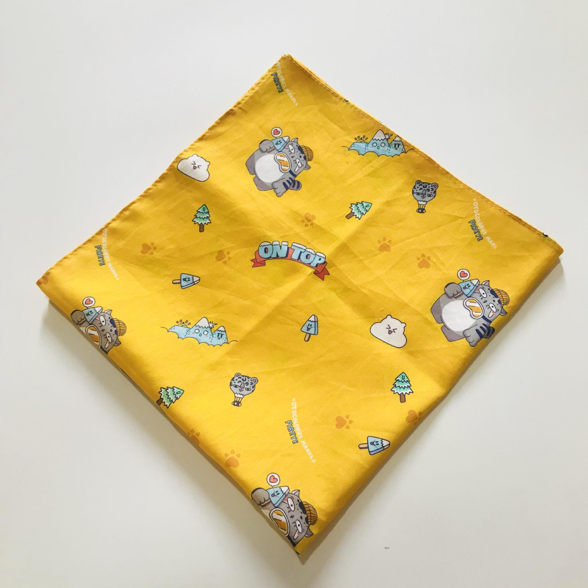 khăn tay Nhà máy trực tiếp cao cấp nhỏ hoa cotton khăn tay 80S satin in nhỏ khăn tay vuông nhỏ bông