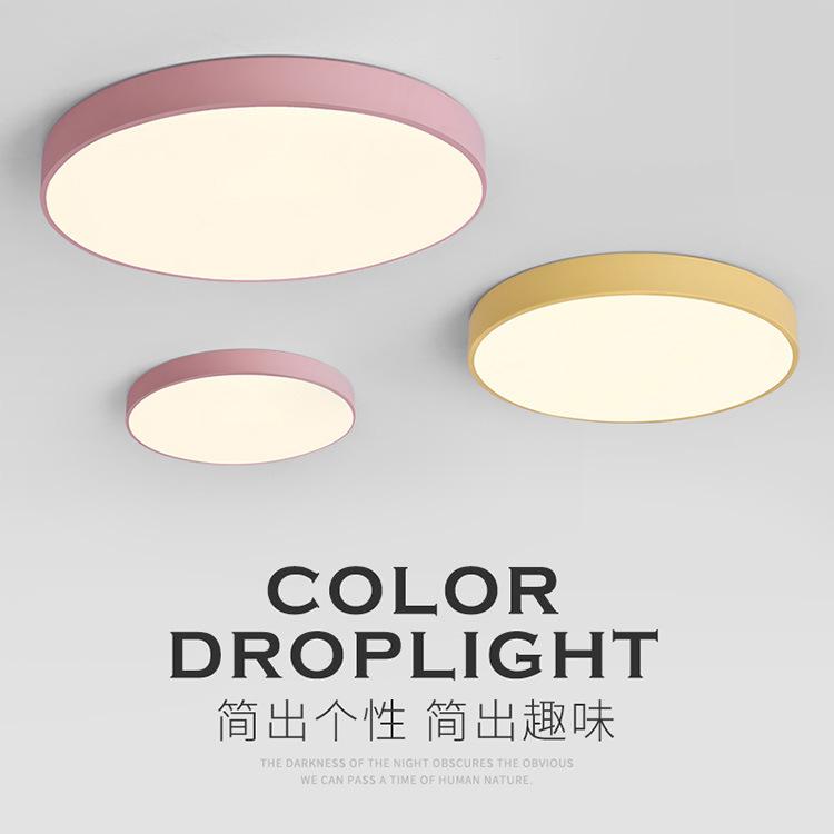 đèn ốp trần Macarons tròn cá tính led màu phòng ngủ trẻ em đèn trần Bắc Âu sáng tạo ban công