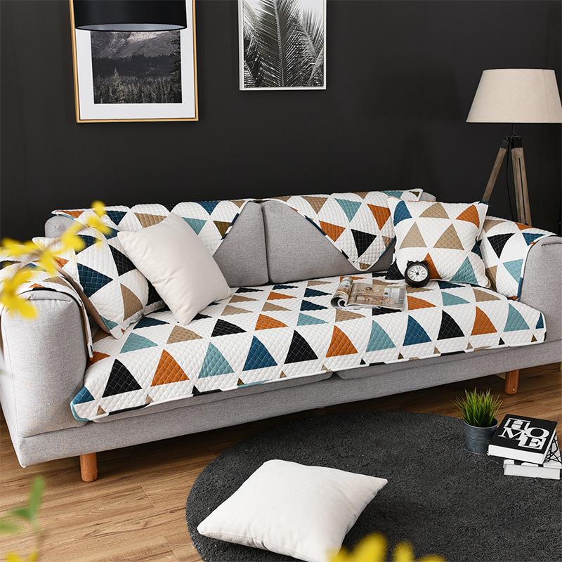 YOURONG Đệm lót SoFa Pujiang cung cấp sofa chống trượt bốn mùa đệm vải bông sofa đệm hiện đại tối gi