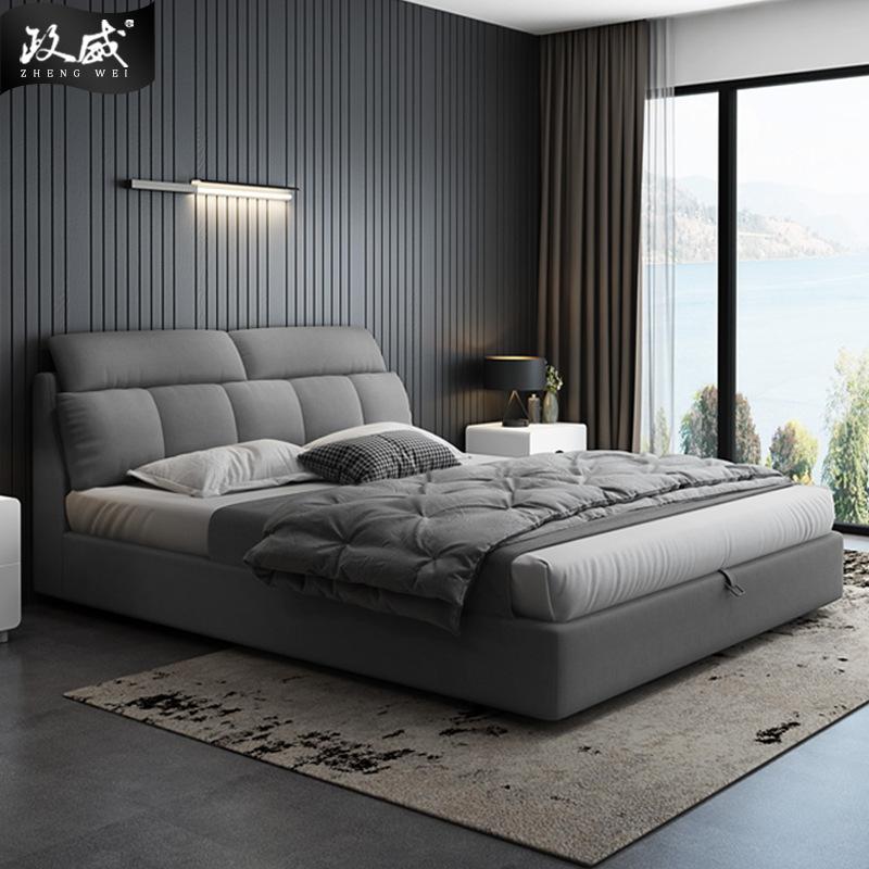 ZHENGWEI giường Đơn giản hiện đại giường vải Bắc Âu đơn lưu trữ đôi kích thước căn hộ phòng ngủ khác