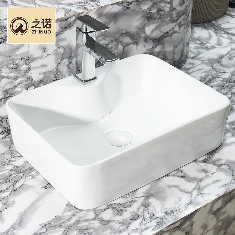 ZHINUO Bồn rửa mặt Nhà máy trực tiếp thiết bị vệ sinh đơn giản mới hình chữ nhật trên chậu rửa Bán b