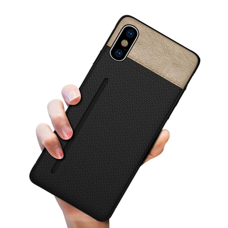 VELETA bao da điện thoại Thẻ iPhone XS áp dụng Ốp lưng da Shi điện thoại TPU + PU hai trong một với
