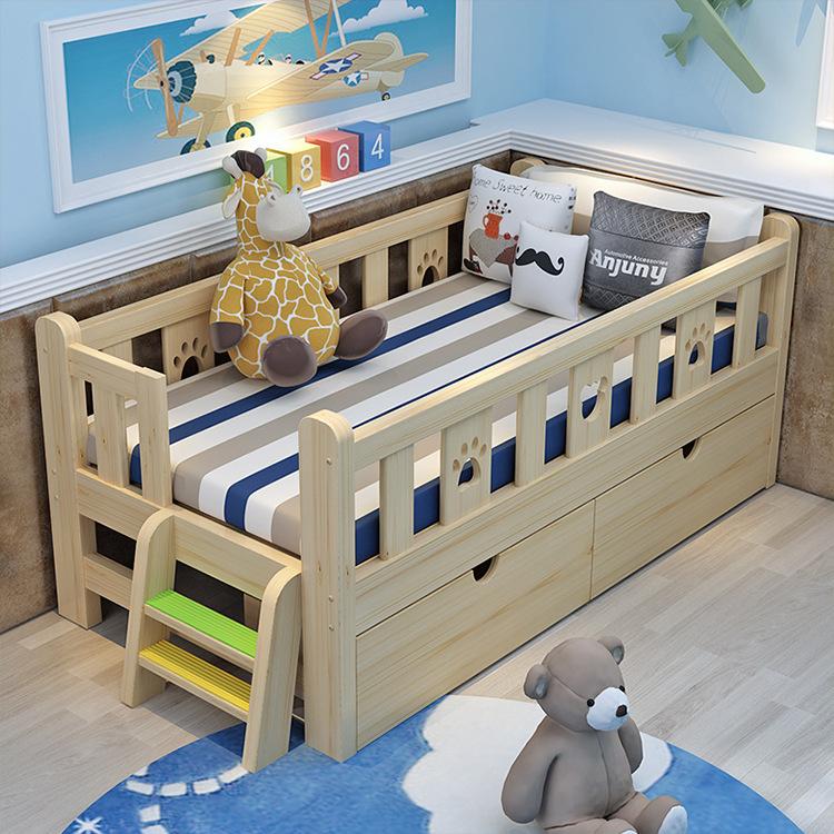 BAJIULING giường Nhà máy bán buôn trẻ sơ sinh với lan can gỗ giường trẻ em giường bé trai cô gái trẻ