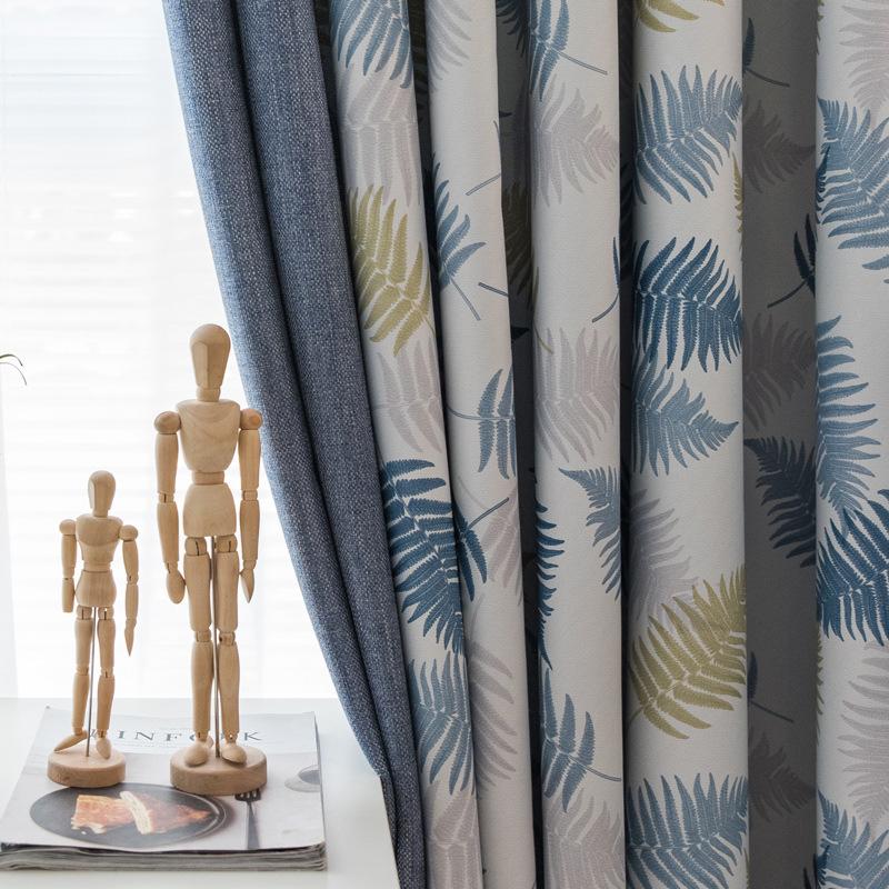 HAOYI rèm cửa sổ Hạt gạo Bắc Âu in màn rèm vải vải phòng khách phòng ngủ khảm rèm cửa thành phẩm tùy
