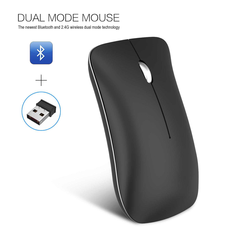 HXSJ Chuột vi tính Chuột Bluetooth im lặng có thể sạc lại HXSJ mới chế độ kép Chuột không dây Blueto