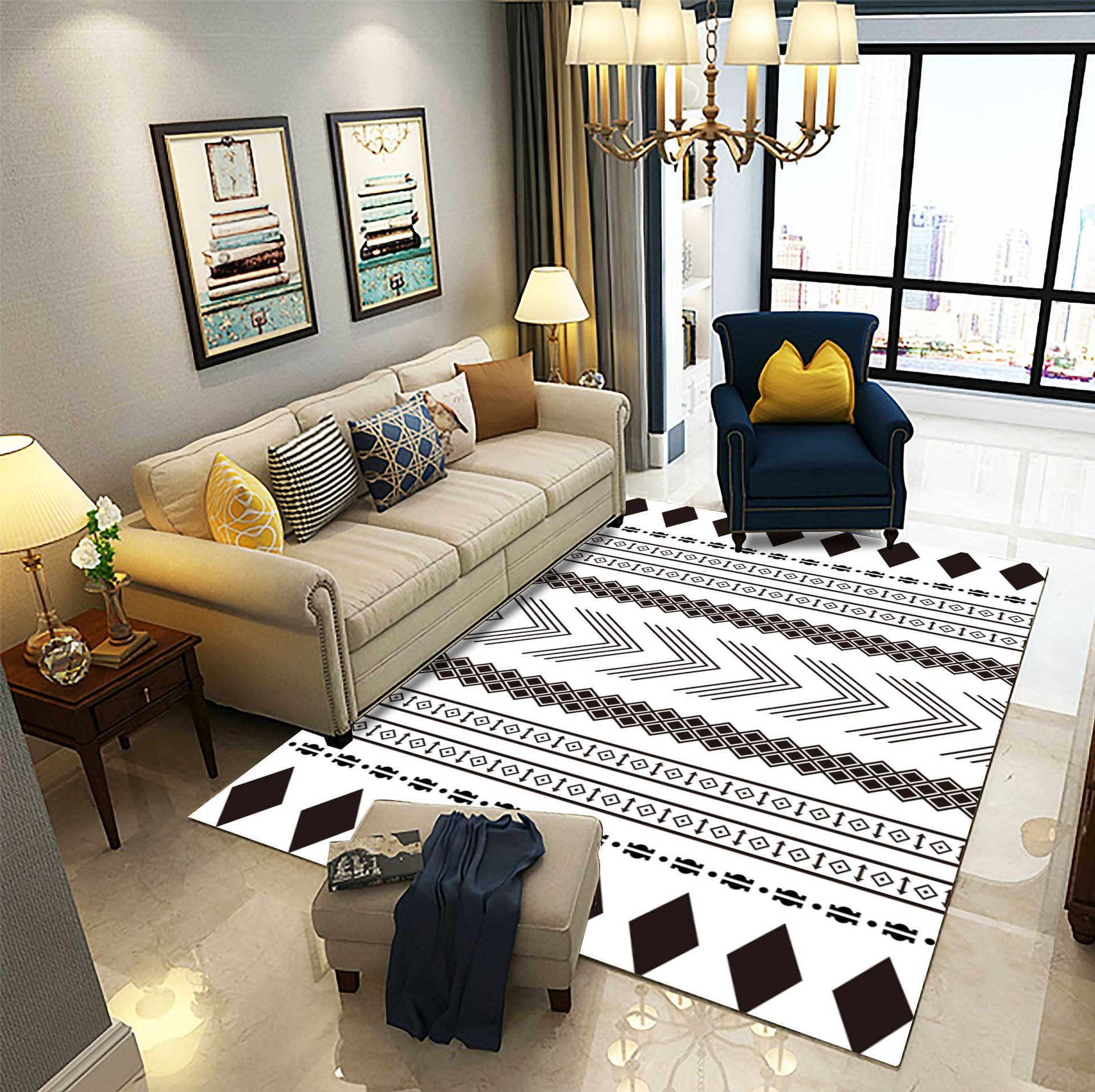 WANGZHIPENG thảm lót Nhà xuyên biên giới Phòng khách Bắc Âu bàn cà phê in thảm 3D mô hình phòng trưn
