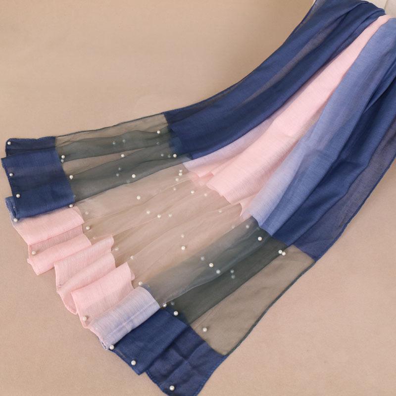 LMLAVEN Khăn biến màu Ngoại thương Hui quốc tịch khăn nữ móng tay ngọc trai màu gradient khăn trùm đ