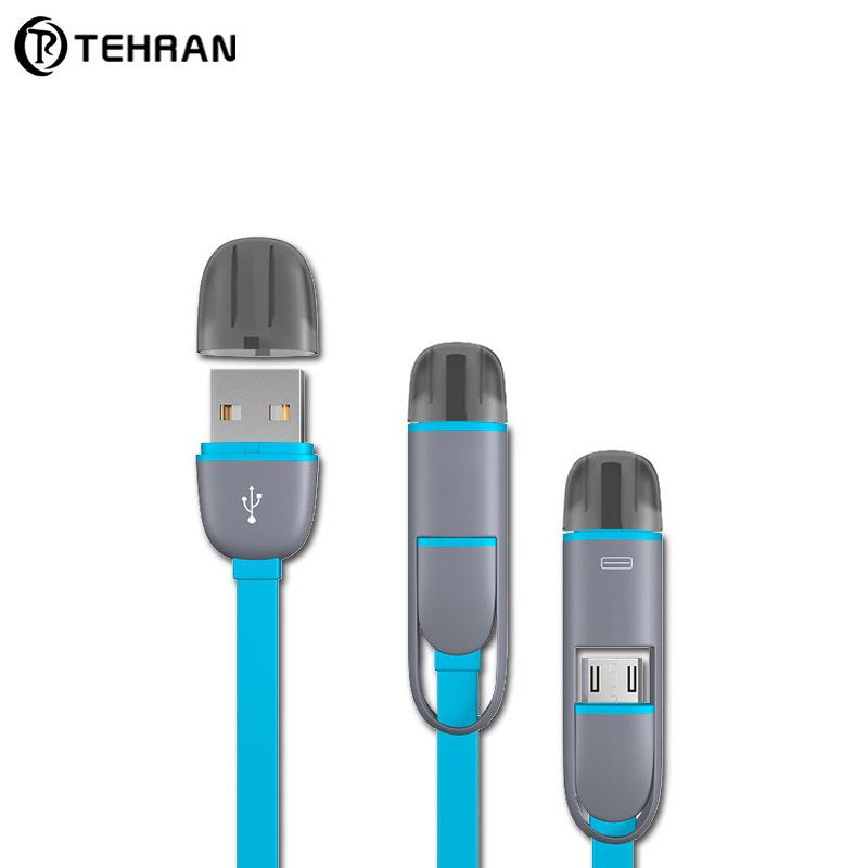 TEHRAN Dây USB Dây chuyền treo giỏ dữ liệu dòng mì hai trong một dòng dữ liệu đa chức năng cho Apple