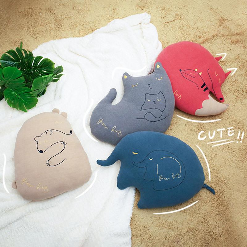 LANBAI gối ôm Búp bê sang trọng màu xanh và trắng dễ thương hoạt hình động vật ngủ gối sang trọng bú