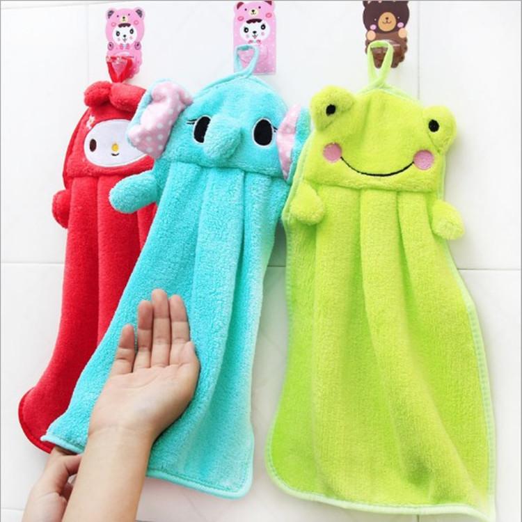 khăn lau tay T đầy màu sắc kẹo ngọt siêu mềm nhung mềm hoạt hình nhung khăn hoạt hình treo khăn sáng