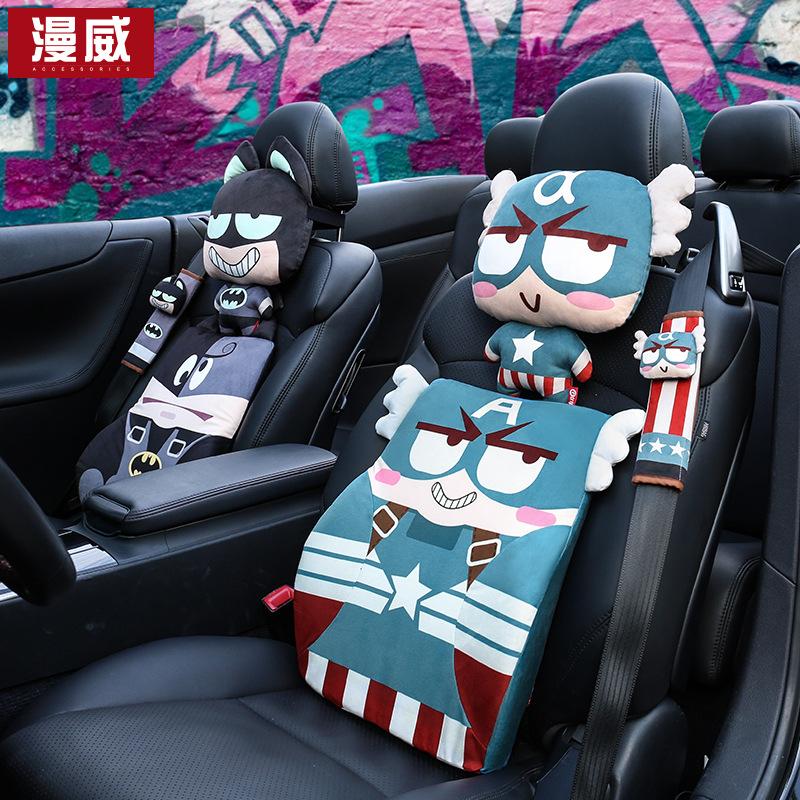 MANWEI Gối đầu xe hơi Xe tựa đầu gối cổ hoạt hình ghế ngồi gối cổ xe dễ thương nội thất đệm đầu bán