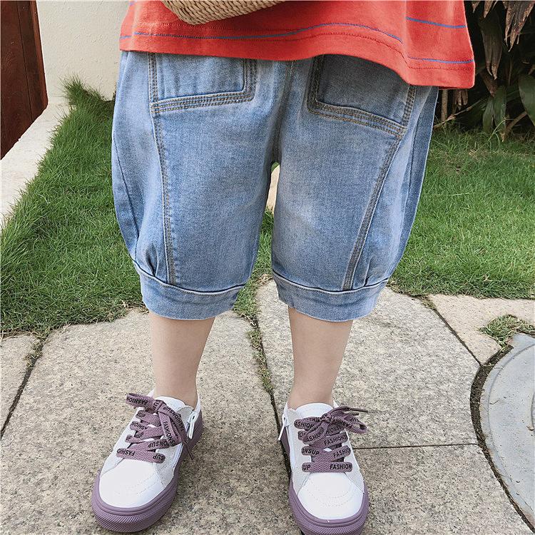 Đầm váy trẻ em Đầm váy trẻ em Children's Summer Jeans Light Blue Soft Jeans Boys and Girls Baby Jea