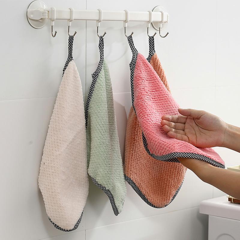 NAHE khăn lau tay Dứa thấm hai mặt giẻ rách Khăn dày vuông nhỏ mà không có xơ treo khăn lau bếp