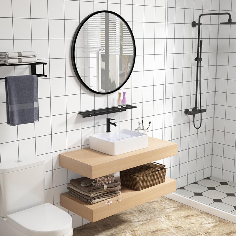 LANGLIJI Tủ phòng tắm Bắc Âu căn hộ nhỏ hiện đại tối giản rửa lưu vực tủ phòng tắm kết hợp rửa lưu v