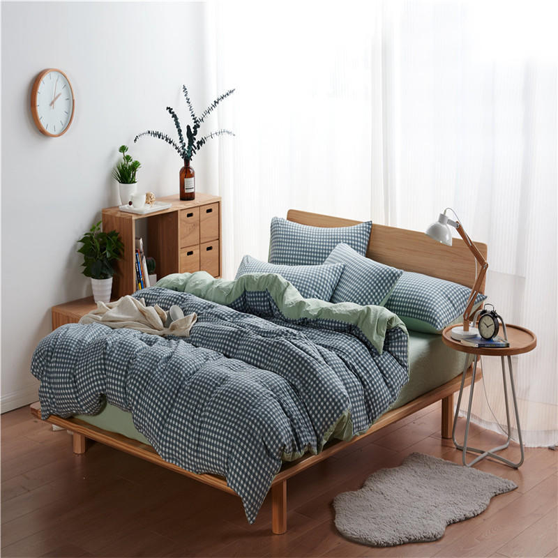 DIRUN Thị trường đồ bộ Nhà máy giặt trực tiếp cotton 1.8 giường bộ bốn mảnh mà không in dải tốt loạt
