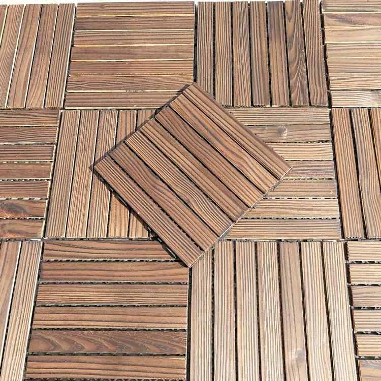 Ván sàn Carbonized chống ăn mòn bảng sàn dán ngoài trời sàn gỗ rắn ban công sân vườn ngoài trời B &
