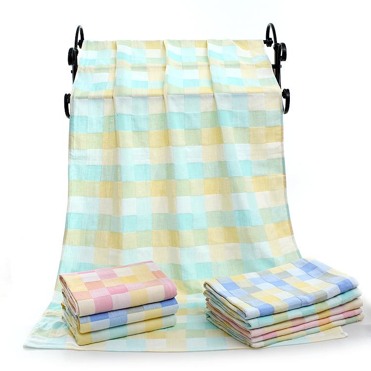 KUYAYA Khăn tắm Bông gạc hai lớp màu khô Khăn tắm cho trẻ sơ sinh giữ chăn 70 * 140 khăn tắm