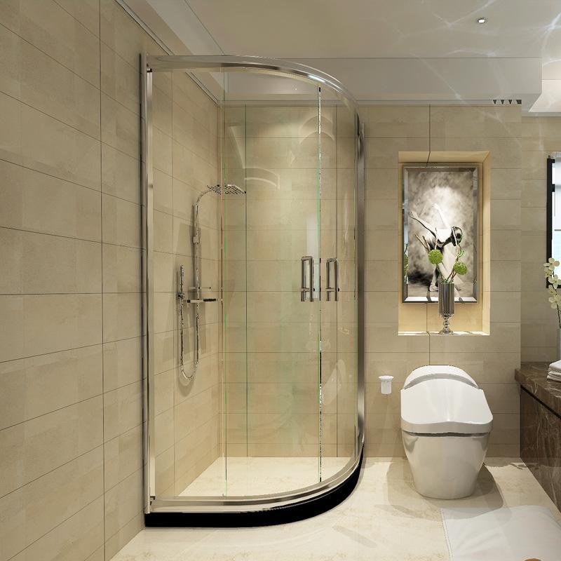 YOROOW Bồn đứng tắm Phòng tắm Youlai Vách tắm phòng tắm đơn giản kính cường lực hồ quang hình quạt t