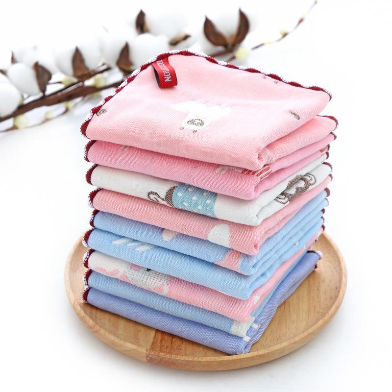 NUOXI khăn tay Bông gạc sáu lớp vuông nước bọt trẻ em Khăn bông nhỏ khăn tay em bé khăn 30 * 30cm bá