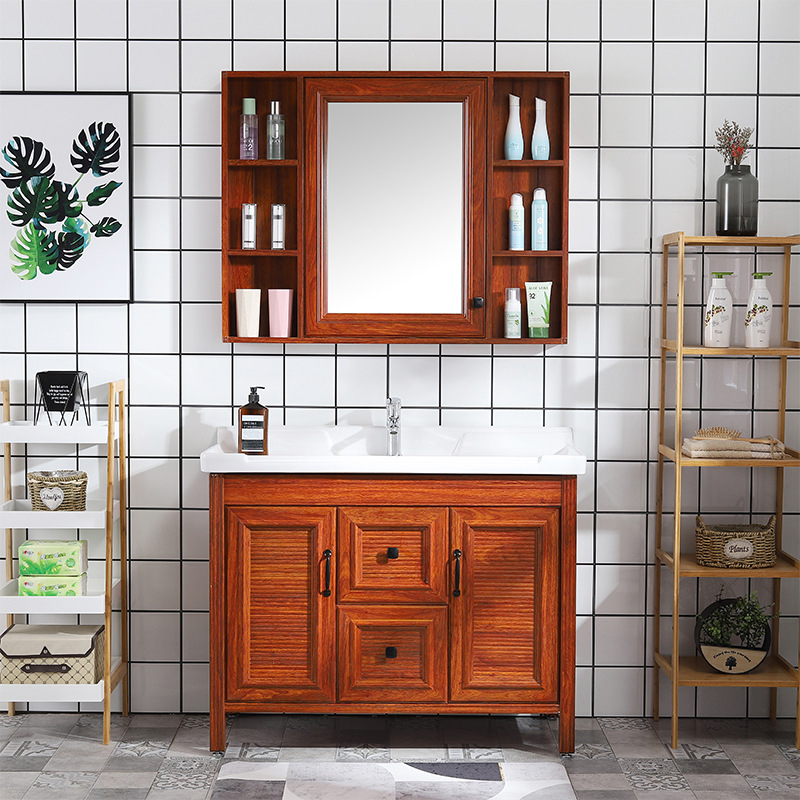 MAOYU Tủ phòng tắm Phòng tắm đơn giản không gian tủ nhôm sàn tủ phòng tắm chậu rửa một tủ gốm chậu r