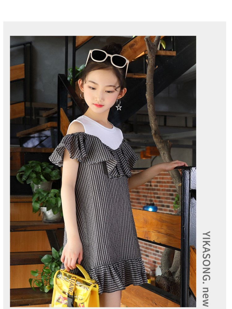 Girls'Skirt 2019 Korean Summer Dress Girls' Stripe Dress