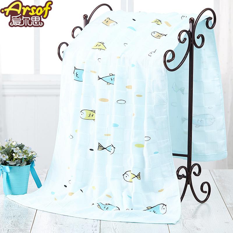 Arsof Khăn bãi cát Khăn tắm cho bé bằng gạc đôi dễ thương Khăn tắm biển cho trẻ sơ sinh giữ 70 * 140