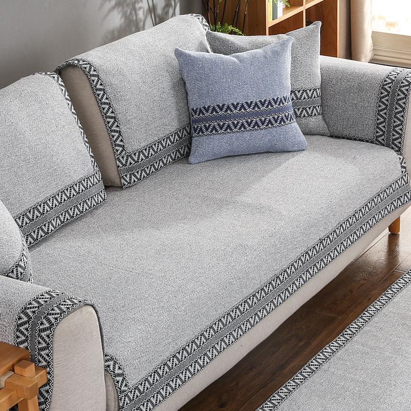 YIJU Đệm lót SoFa Trung Quốc vải lanh sofa đệm đơn giản hiện đại vải chống trượt bốn mùa phổ quát rắ