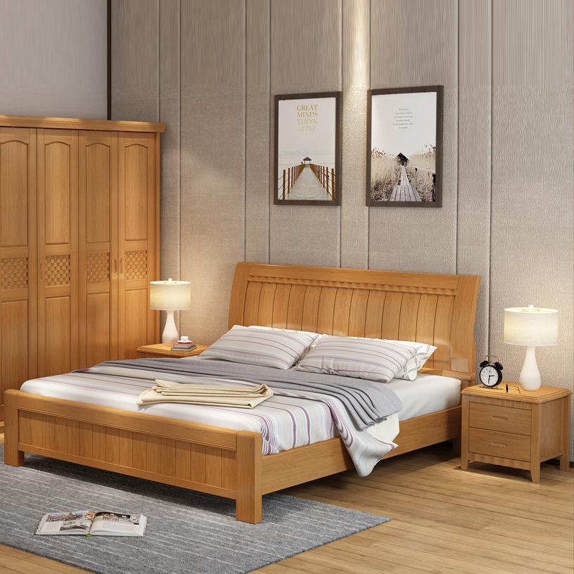 ZHONGBO Giường gỗ nguyên khối Trung Quốc Nội thất gỗ nguyên khối 1,2 giường trẻ em 1,5 giường đơn 1,
