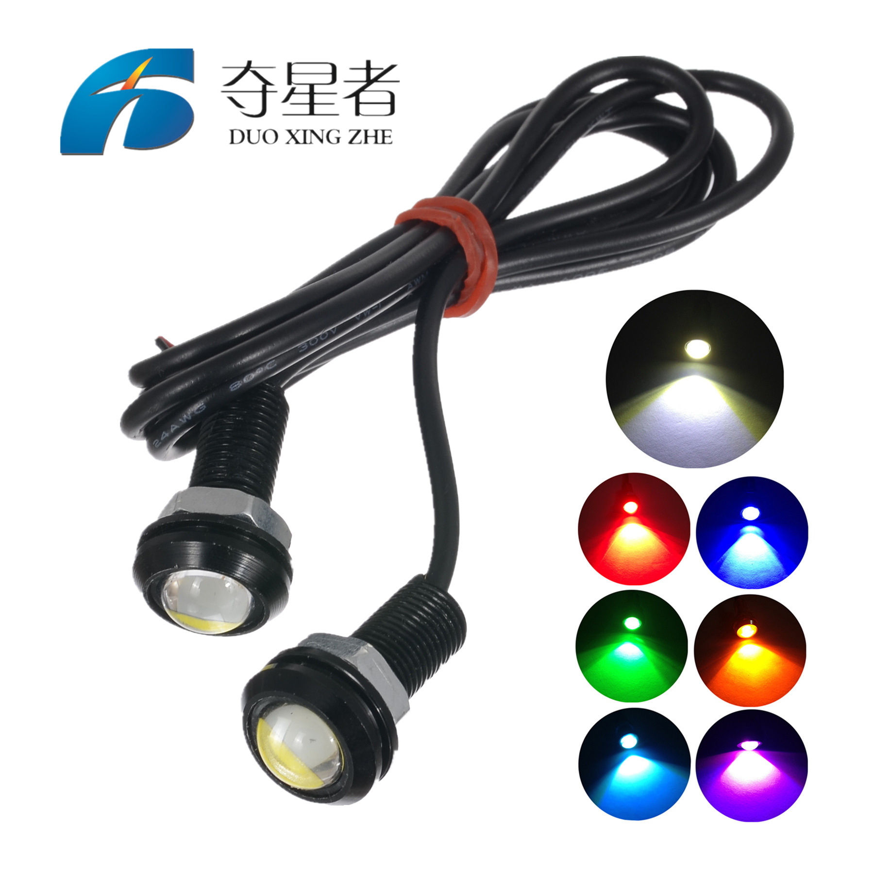 DUOXINGZHE đèn xe Xe led nhẹ 18MM mắt đại bàng 9W siêu mỏng lừa đảo ngược ánh sáng ngược không thấm