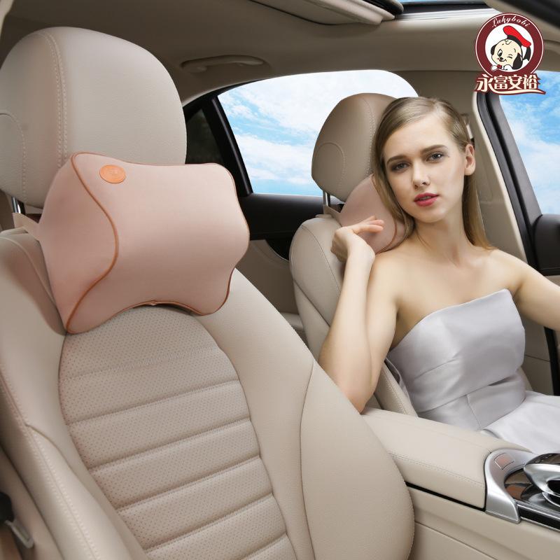 LuckyBOBI Gối đầu xe hơi Yongfu Anyu xe tựa đầu bộ nhớ cổ bông gối xe chỗ ngồi cung cấp thoáng khí g