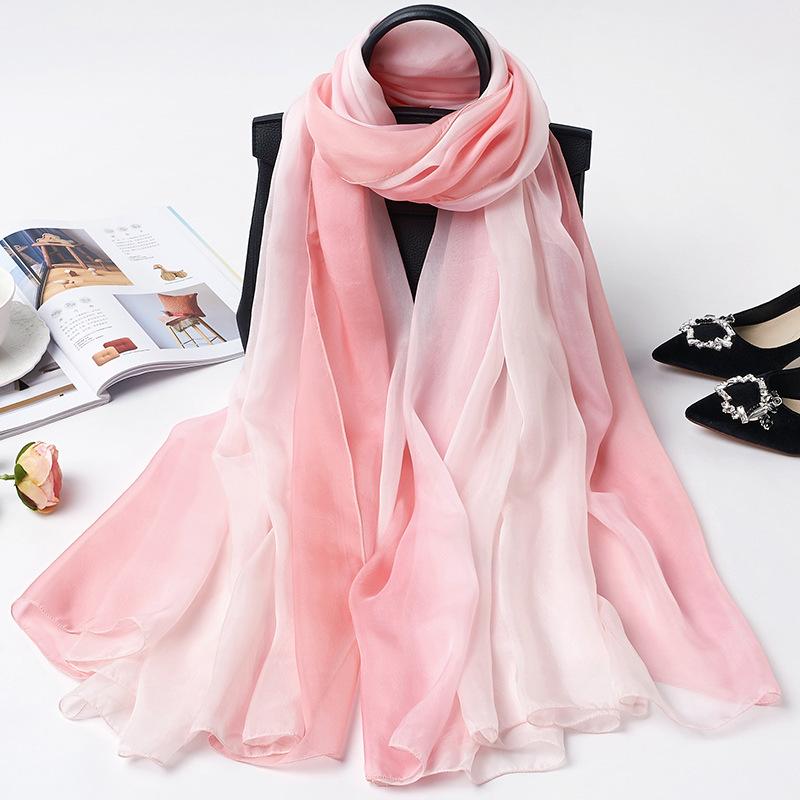Wusilk Khăn biến màu Khăn lụa tơ tằm màu hồng trắng gradient màu khăn lụa mùa xuân và mùa thu khăn c
