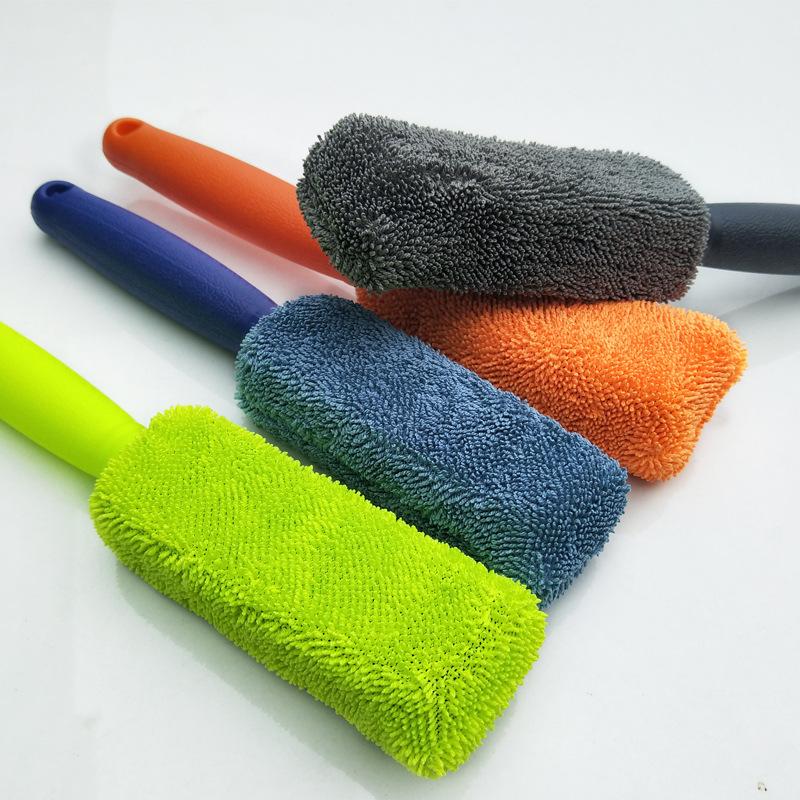 FULAIDE bàn chải sáp Microfiber tay cầm dài lốp xe Làm sạch nhỏ bện vải lốp xe chải làm tất cả các l