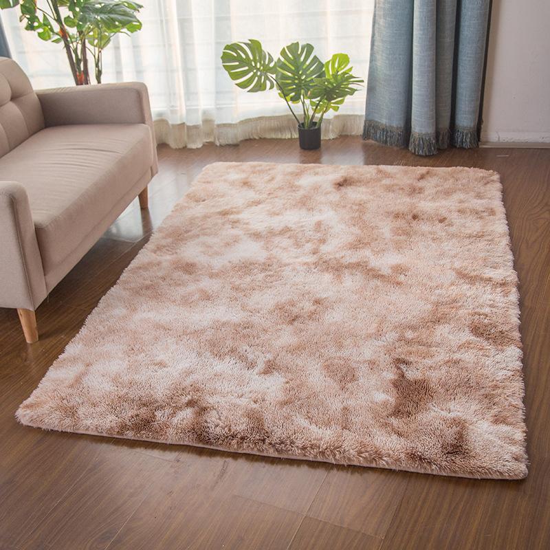 XINRUI thảm lót Lốm đốm nhuộm nhuộm màu thảm phòng khách bàn cà phê thảm lưới màu đỏ tóc dài có thể