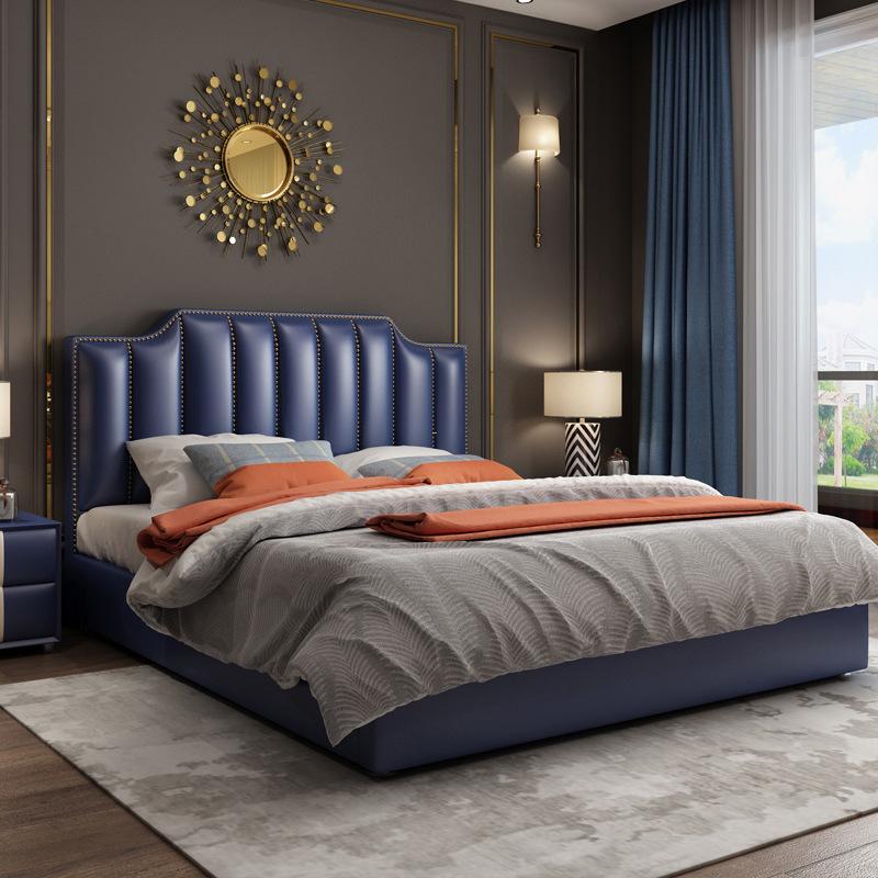 DSMO Giường da Bắc Âu, nội thất giường hiện đại sang trọng, phòng ngủ chính kiểu Mỹ, 1,8 mét, giường