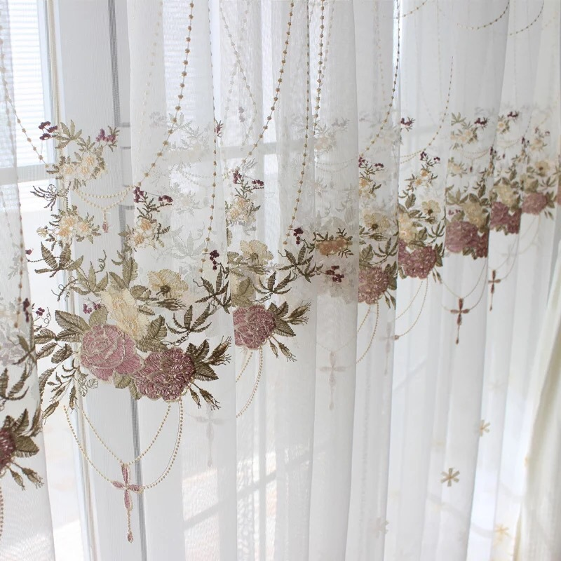 CUNJIN rèm thuỷ tinh Pháp lãng mạn rèm cửa sổ thêu Hàn Quốc giỏ mục vụ hoa ban công phòng khách phân