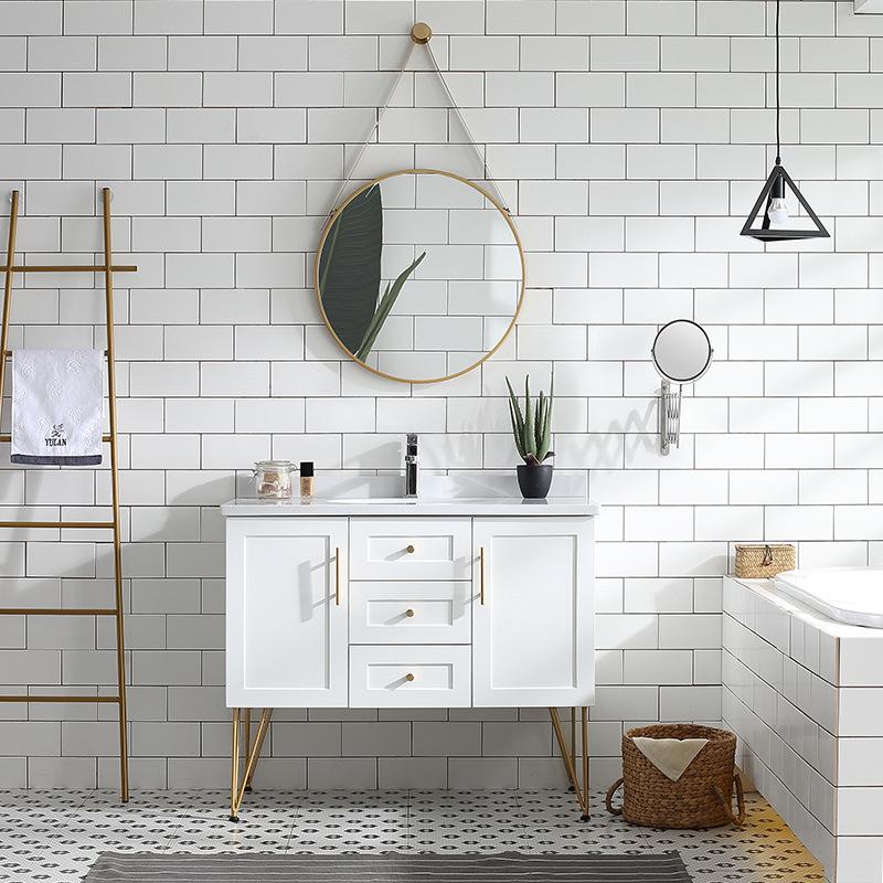 YIJUYUN Tủ phòng tắm Phòng tắm gỗ sồi tối giản hiện đại kết hợp tủ rửa chậu rửa kết hợp tủ bếp gỗ rắ