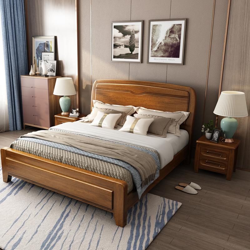 HKMF thị trường nội thất , đèn Giường gỗ óc chó kiểu Trung Quốc 1,8 m đơn giản phòng ngủ chính giườn