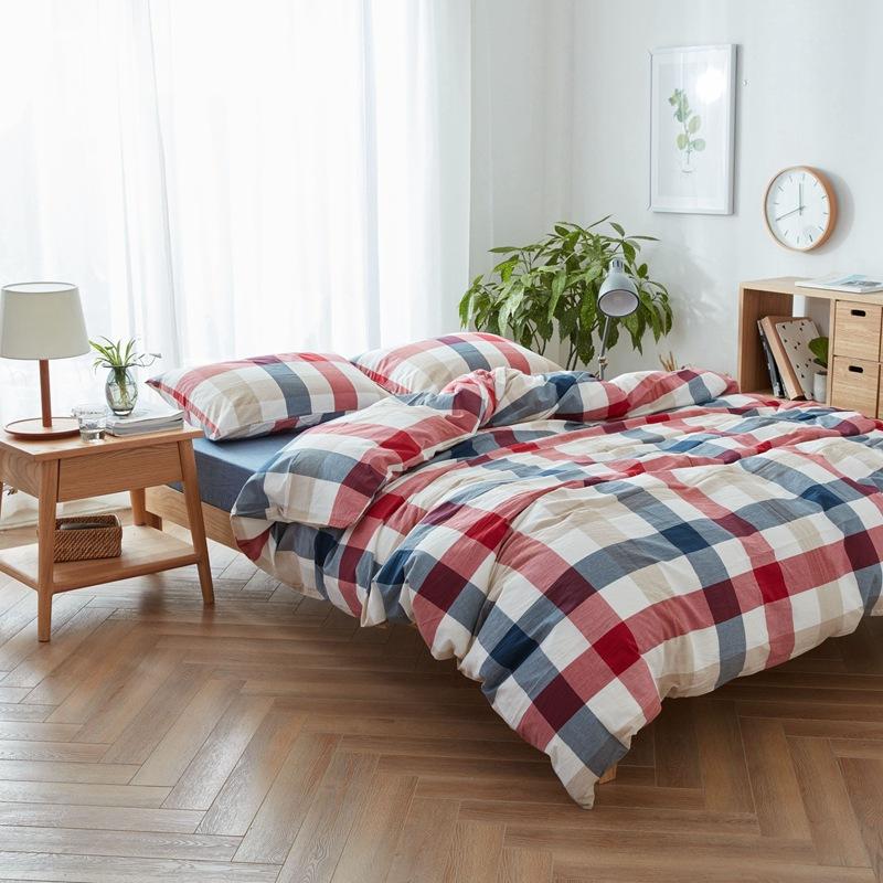 Thị trường đồ bộ Bộ bốn miếng bông được nhuộm sợi bông. Dải in đơn giản. Bộ khăn trải giường. Bộ ba
