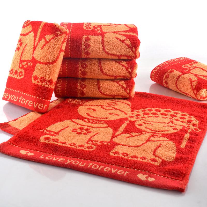 YANUO Khăn đám cưới Đồ cưới cưới khăn mặt khăn bông đỏ khăn cưới hi hi cặp vợ chồng khăn cưới trở về
