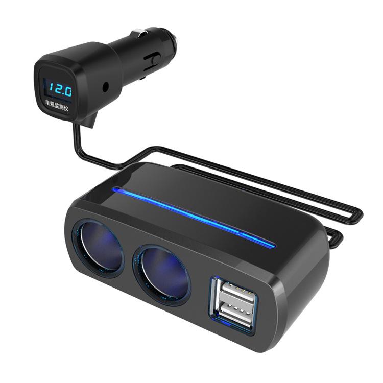SHUNWEI Cục sạc Đối thoại với phát hiện điện áp kép USB một phút hai bật lửa một cho hai bộ sạc xe h