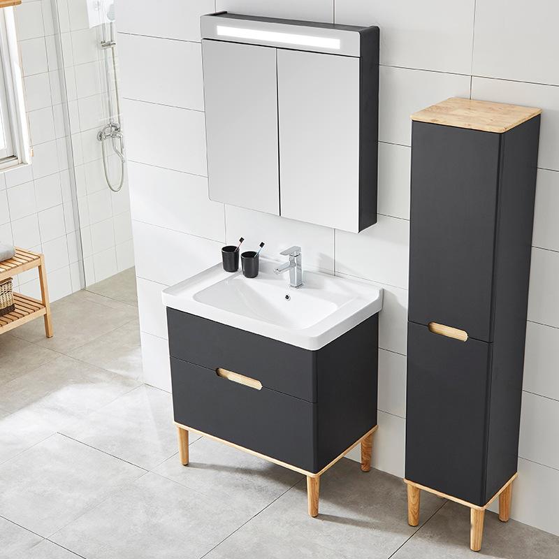 SHUTONG Tủ phòng tắm gỗ sồi hiện đại tối giản rắn gỗ phòng tắm tủ phòng tắm rửa chậu rửa chậu rửa kế