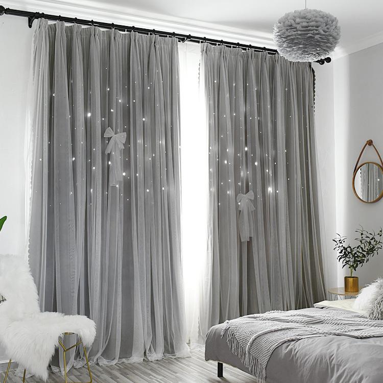 rèm cửa sổ Màu rắn Hàn Quốc hai lớp ren rỗng sao công chúa rèm gió phòng ngủ phòng khách màn rèm vải