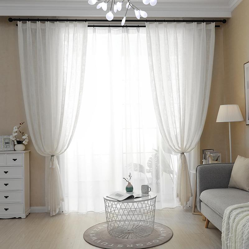 AIJIXIN rèm thuỷ tinh Màn hình cửa sổ trắng vải gạc ban công sợi rèm ánh sáng trong suốt rèm trắng c