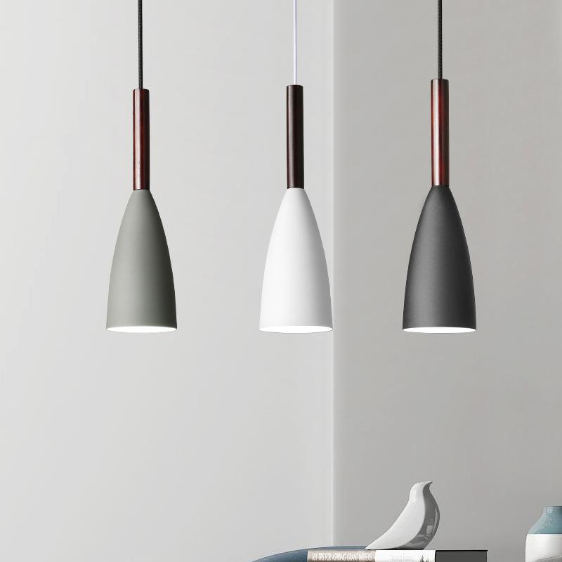 MEIHAOJIA Đèn chùm Bắc Âu hiện đại tối giản Nhật Bản ba đầu đơn nhôm đầu gỗ cá tính thiết kế sáng tạ