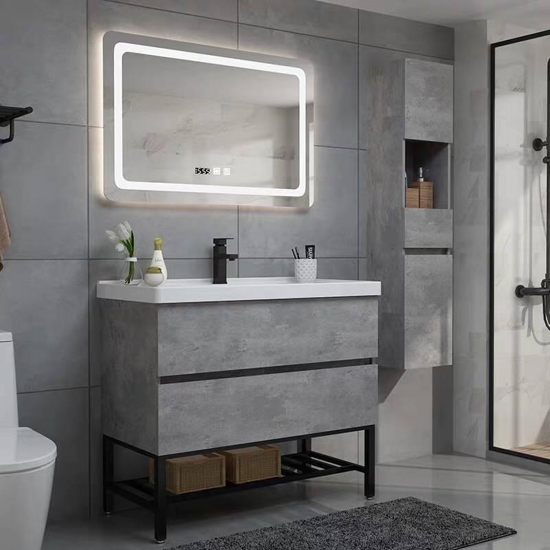 YONGLUODA Tủ phòng tắm Phòng tắm Bắc Âu thông minh phòng tắm kết hợp tủ phòng tắm chìm hiện đại tối