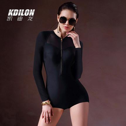 chống thấm nước  kdilon Kaidilong Xiêm đen áo tắm nữ bảo thủ gợi cảm áo tắm mỏng dây kéo retro áo tắ