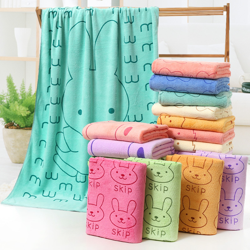 MANJIE Khăn tắm Nhà sản xuất khăn nổ bán buôn khăn tắm sợi nhỏ 70 * 140 phim hoạt hình thấm nước khă