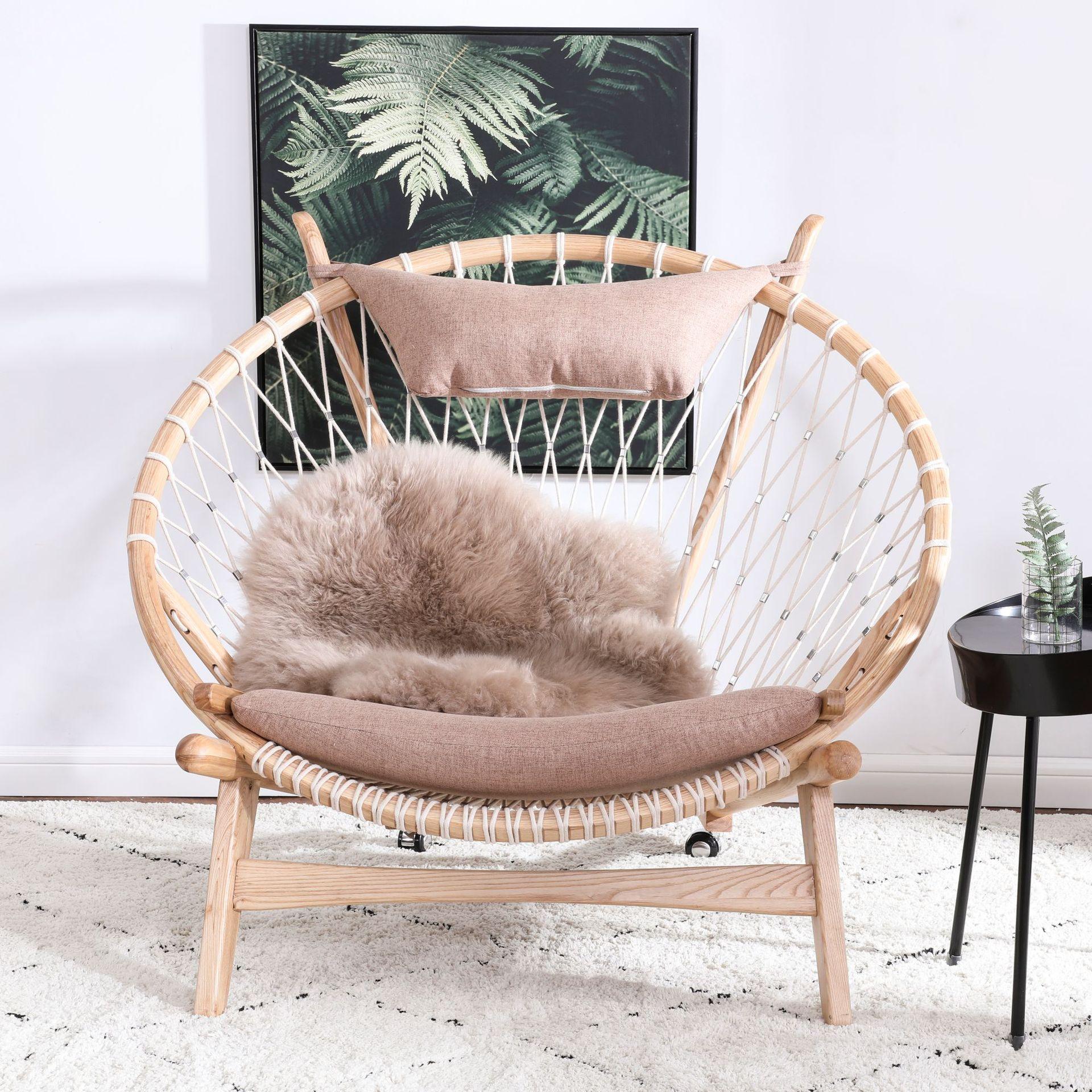 MinDaWe thị trường nội thất , đèn Ghế gỗ rắn Bắc Âu khách sạn tựa lưng ghế tựa thời trang sáng tạo t