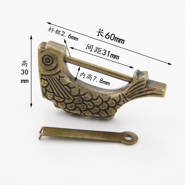 Chimei Khoá cửa Khóa cổ hình con cá retro khóa nhỏ khóa cũ kiểu cũ Khóa cửa kiểu Trung Quốc khóa cổ